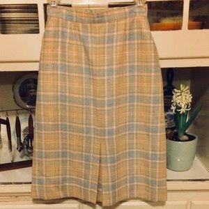 Vintage Pencil Skirt-Blue/pink Plaid-XS